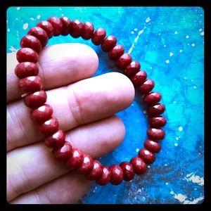 Genuine faceted Red Ruby beaded bracelet
